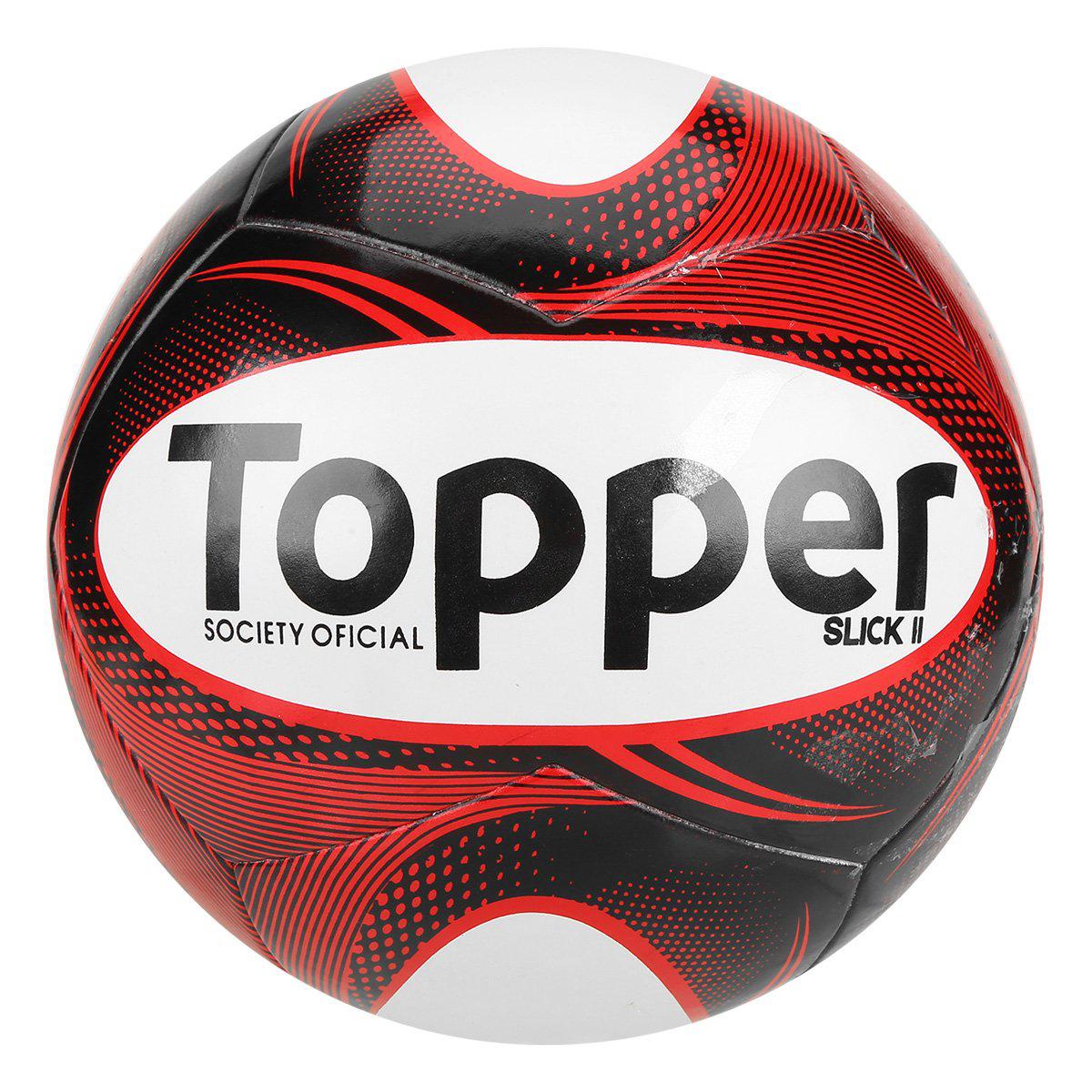 Bola Futebol Society Topper Slick II - Preto e Branco