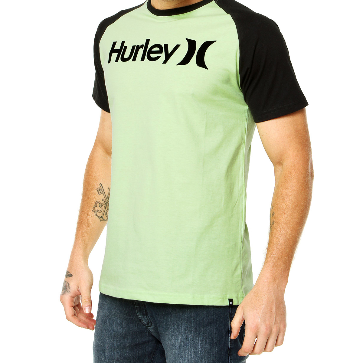 Camiseta Hurley One e Only Raglan Masculina - Verde