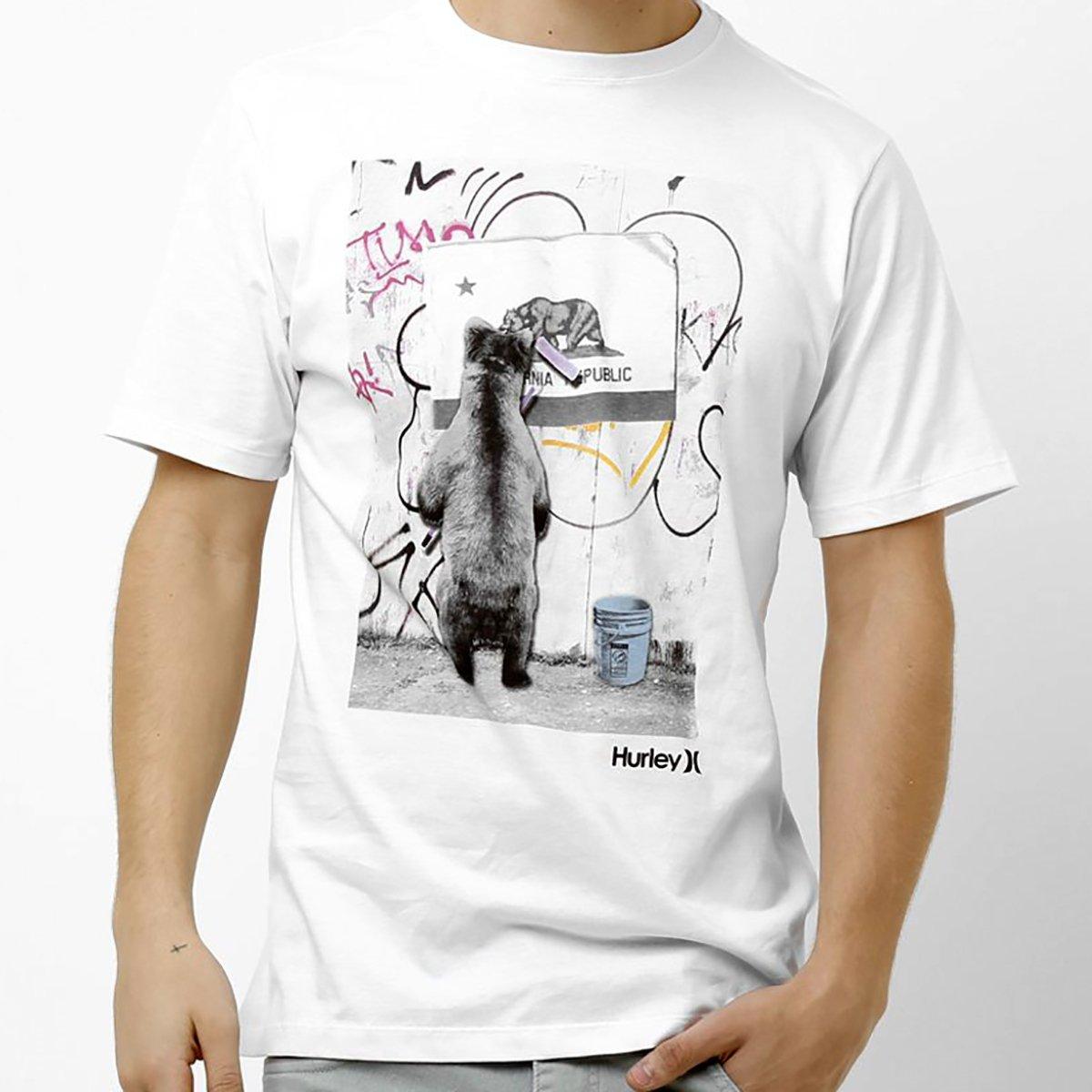 Camiseta Hurley Bear Grafitti Masculina - Branco