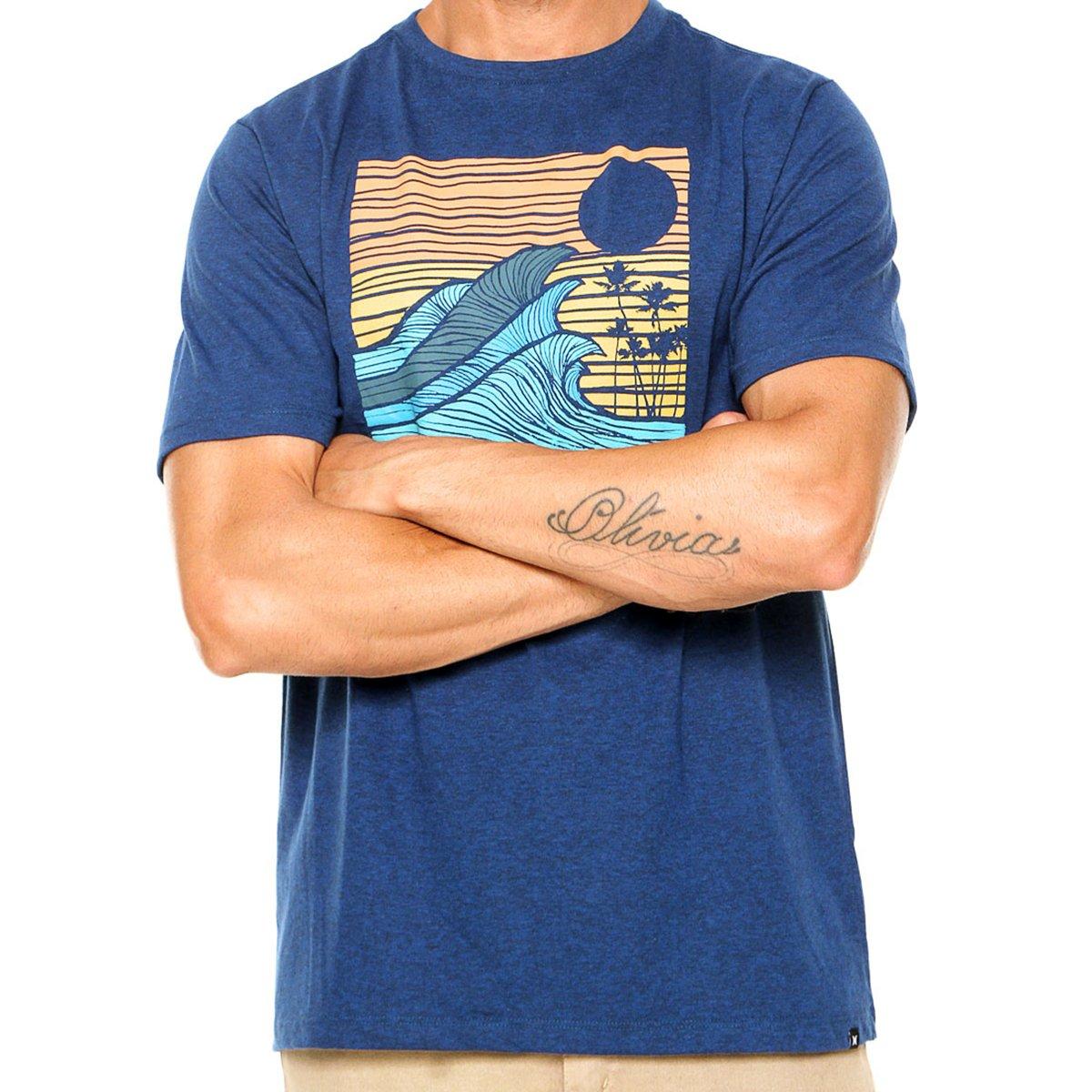 Camiseta Hurley Silk Tropical Target Masculina - Azul