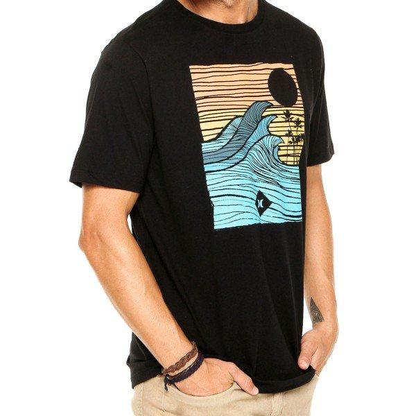 Camiseta Hurley Silk Tropical Target Masculina - Preta