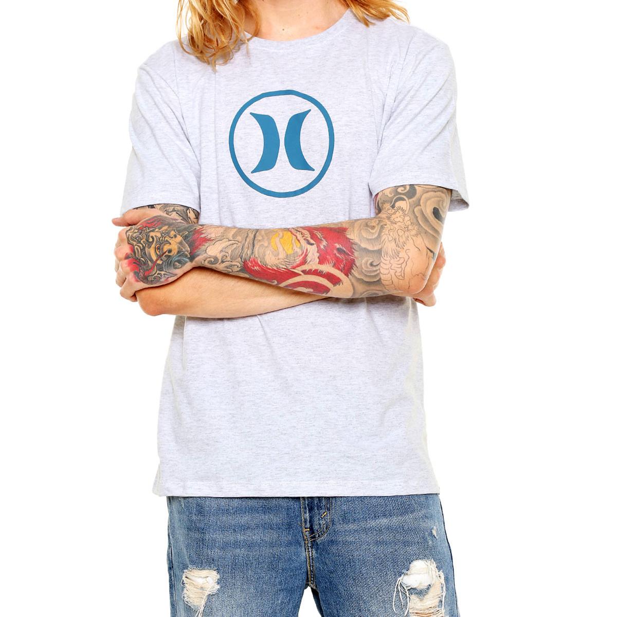 Camiseta Hurley Silk Circle Icon Masculina - Cinza