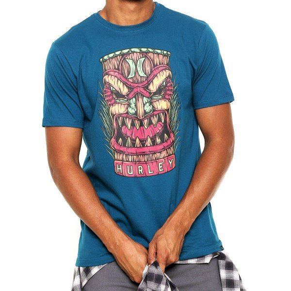 Camiseta Hurley Silk Tiki Masculina - Azul