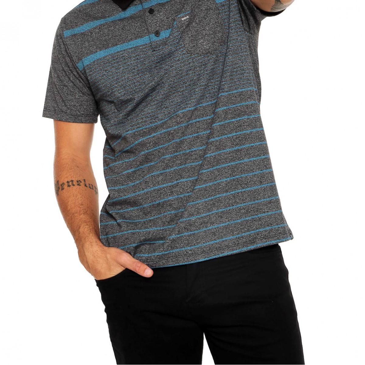 Camisa Polo Hurley Adams Masculina - Cinza e Azul