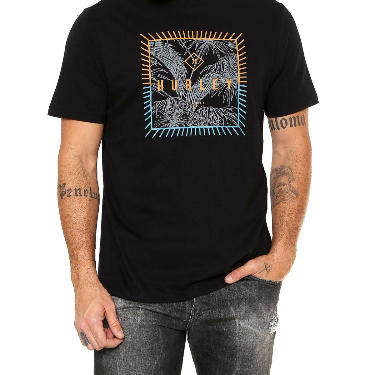Camiseta Hurley Be Fronds Masculina - Preta