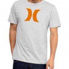 Camiseta Hurley Silk Icon Masculina - Cinza e Laranja