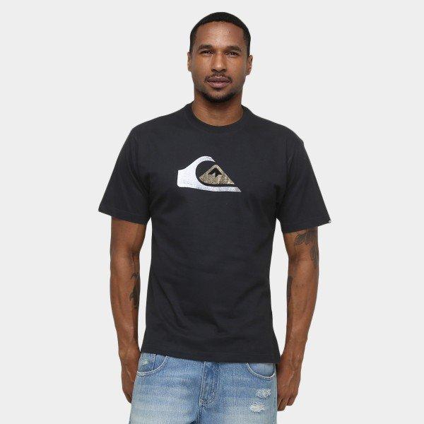 Camiseta Quiksilver Cracked Logo Pack - Preta
