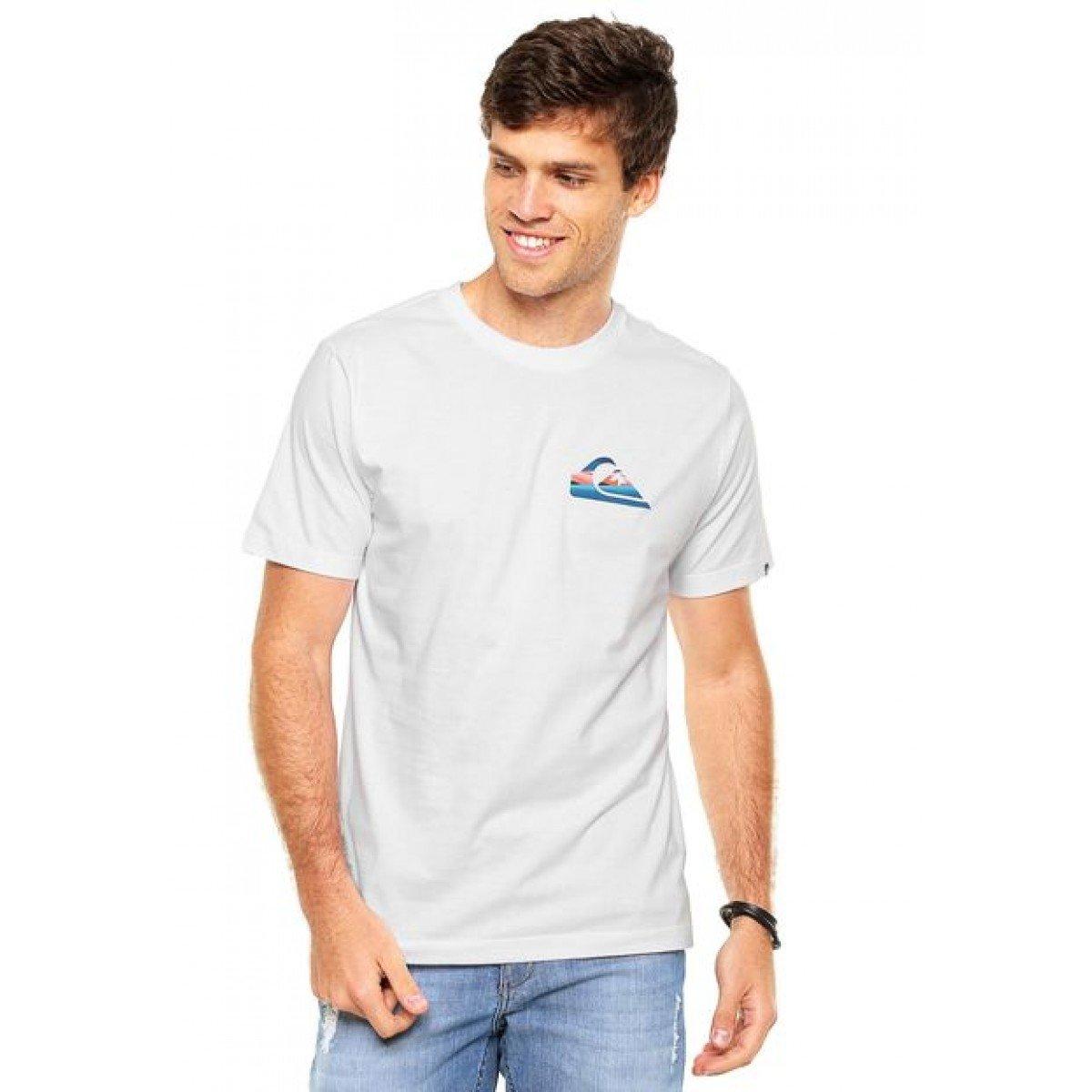 Camiseta Quiksilver Slash Logo - Branca