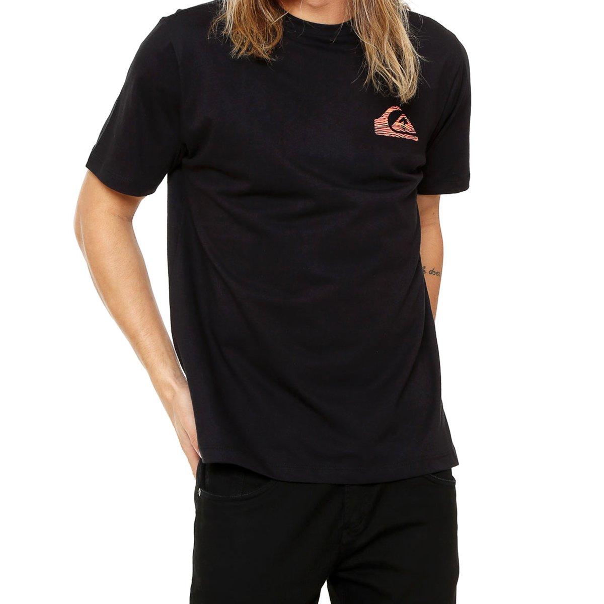 Camiseta Quiksilver Stripe Logo Masculina - Preta