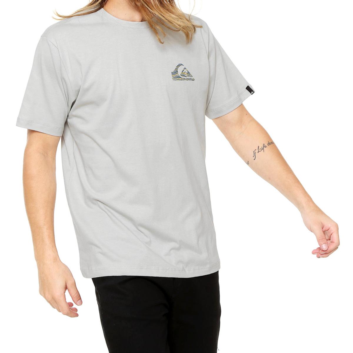 Camiseta Quiksilver Stripe Logo Masculina - Cinza