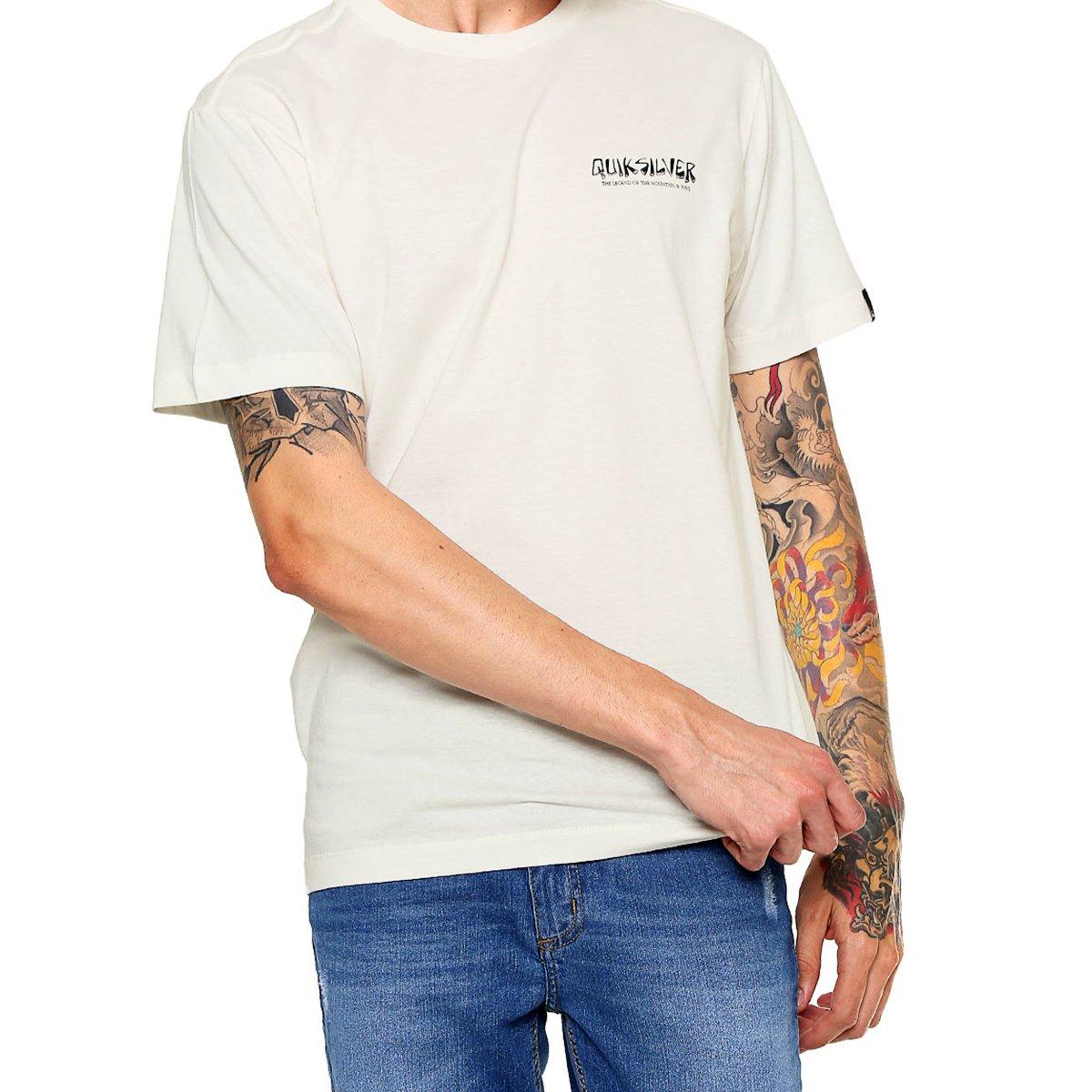 Camiseta Quiksilver Logo Off White Masculina - Branca