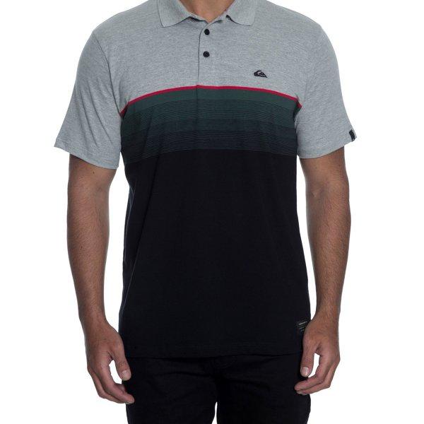 Camiseta Polo Quiksilver Fullgaz Masculina - Cinza e Verde