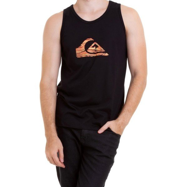 Camiseta Regata Quiksilver Stripe Logo Masculina - Preta