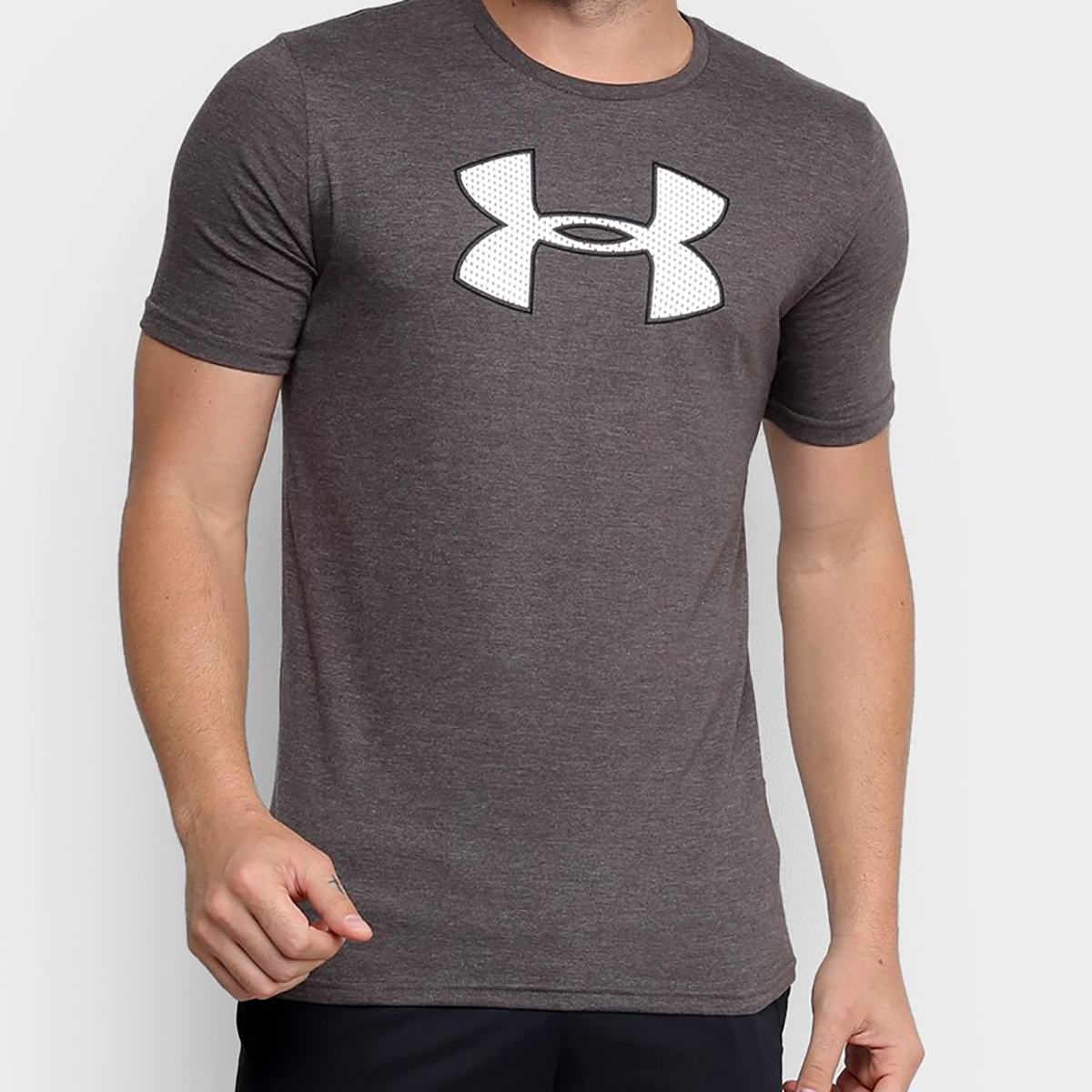 Camiseta Under Armour Big Logo Masculina - Cinza e Branco