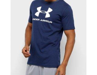Camiseta Under Armour Sportstyle Logo Masculina - Marinho e Branco