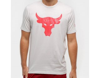 Camiseta Under Armour Project Rock Bul Masculina - Off White e Vermelho