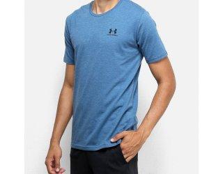 Camiseta Under Armour Sportstyle Left Chest Ss Masculina - Azul Petróleo e Preto