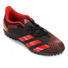 Chuteira Society Adidas Predator 20 4 TF - Preto e Vermelho