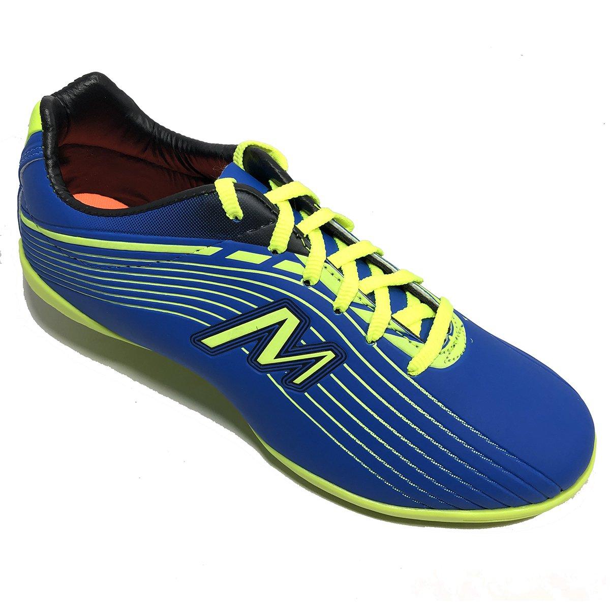 Chuteira Futsal Mathaus Neon Masculina - Azul e Verde Limão