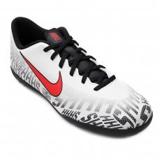 Chuteira Society Nike Mercurial Vapor 12 Club Neymar Jr TF - Branco e Vermelho