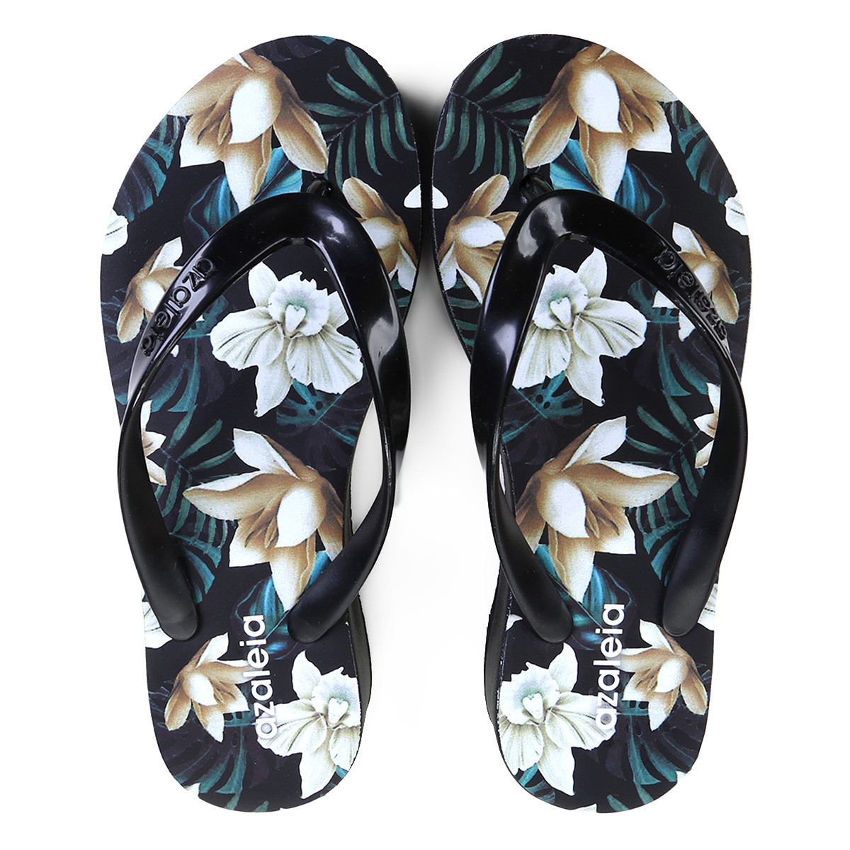 e0b6670092 Chinelo Azaleia Floral Feminino Preto - Compre Agora