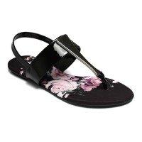 Rasteira Beira Rio Tecido Floral Metal Glamour - Preta e Rosa