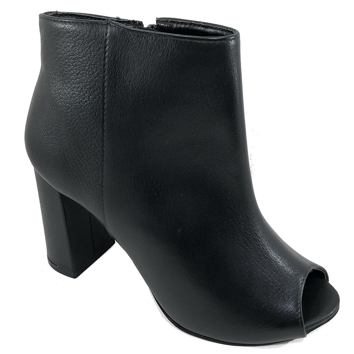 Ankle Boot Couro Capodarte Salto Grosso Feminina - Preto