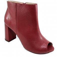 Ankle Boot Couro Capodarte Salto Grosso Feminina - Vermelho