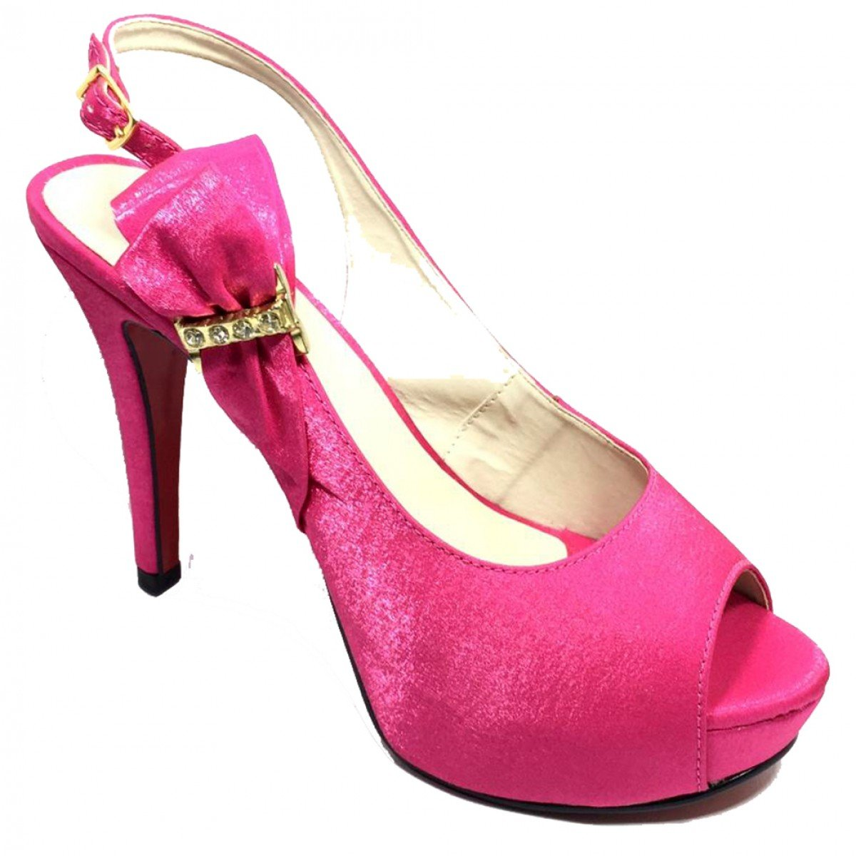 ce0f2a67b2 Sapato Feminino Cia do Porto Salto Alto Bico Aberto Pink - Compre ...