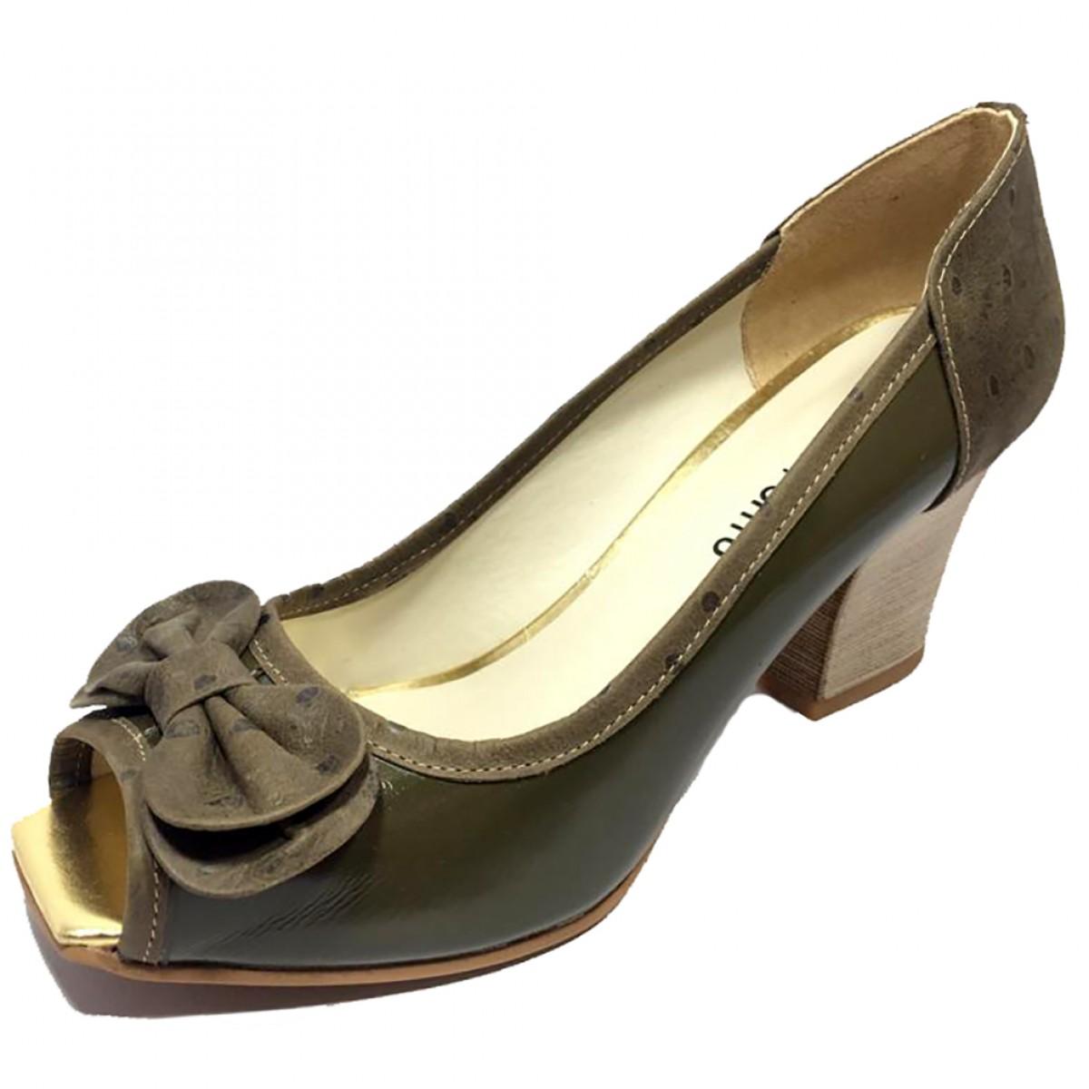 0d9dba1918 Sapato Feminino Peep Toe Cia do Porto Avestruz Musgo - Compre Agora ...