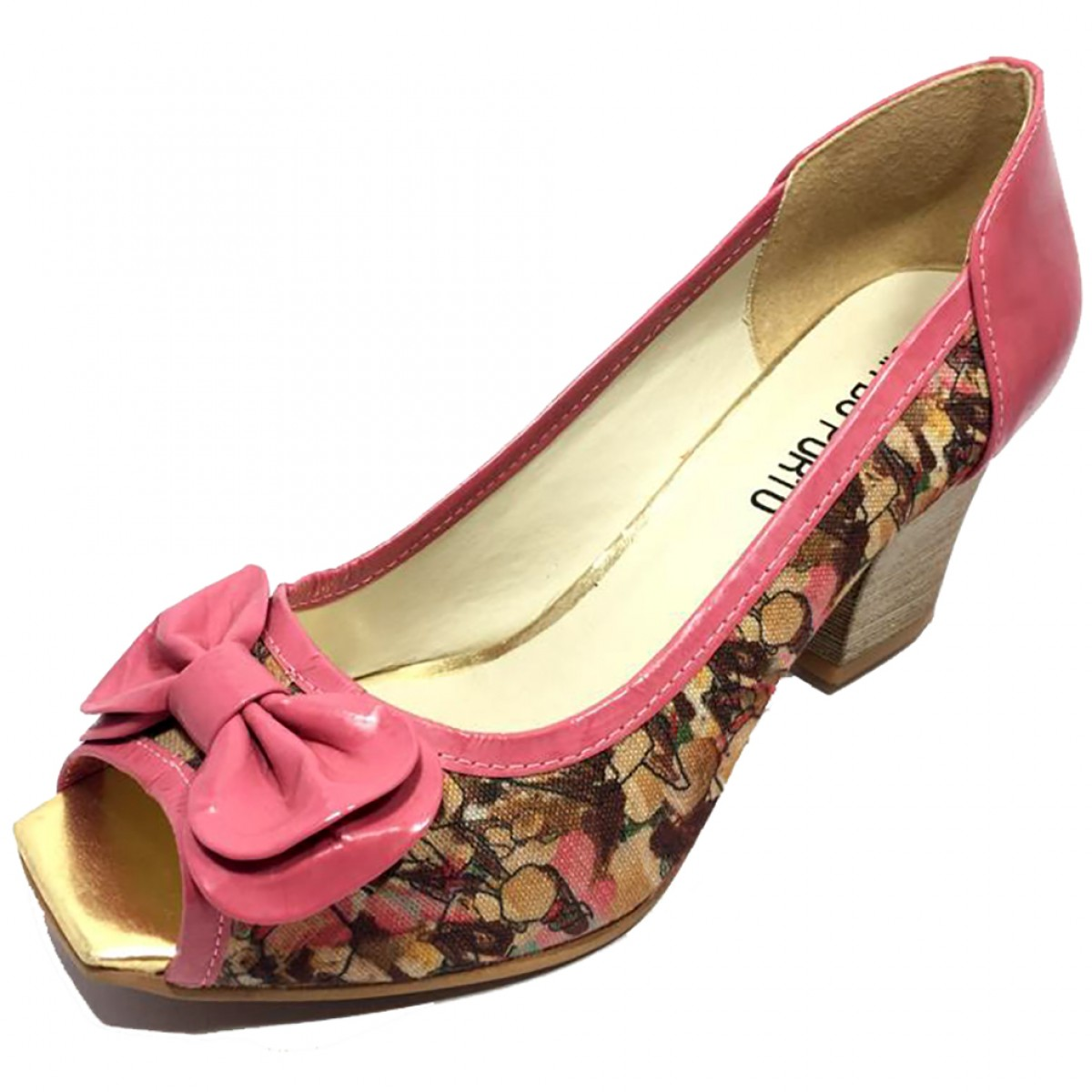 667eb55125 Sapato Feminino Peep Toe Cia do Porto Rosa Floral - Compre Agora ...