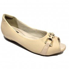 Sapato Peep Toe Comfortflex Fivela Feminino - Nude