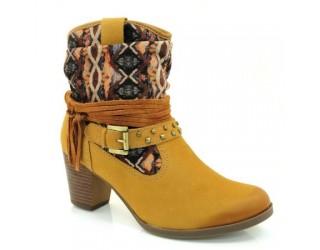 Bota Dakota Ankle Boot Bege Palha Feminina