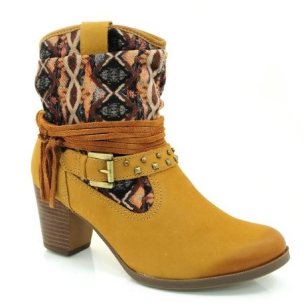 Bota Dakota Ankle Boot Bege Feminina - Palha