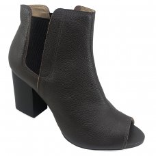 Ankle Boot Couro Jorge Bischoff Elástico Feminina - Marrom Escuro