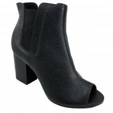Ankle Boot Couro Jorge Bischoff Elástico Feminina - Preto