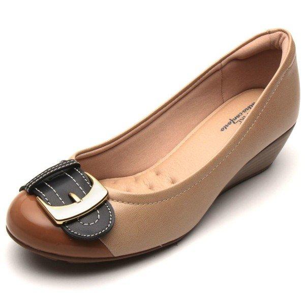 Sapato Anabela Modare Fivela Ultra Conforto Feminino - Bege