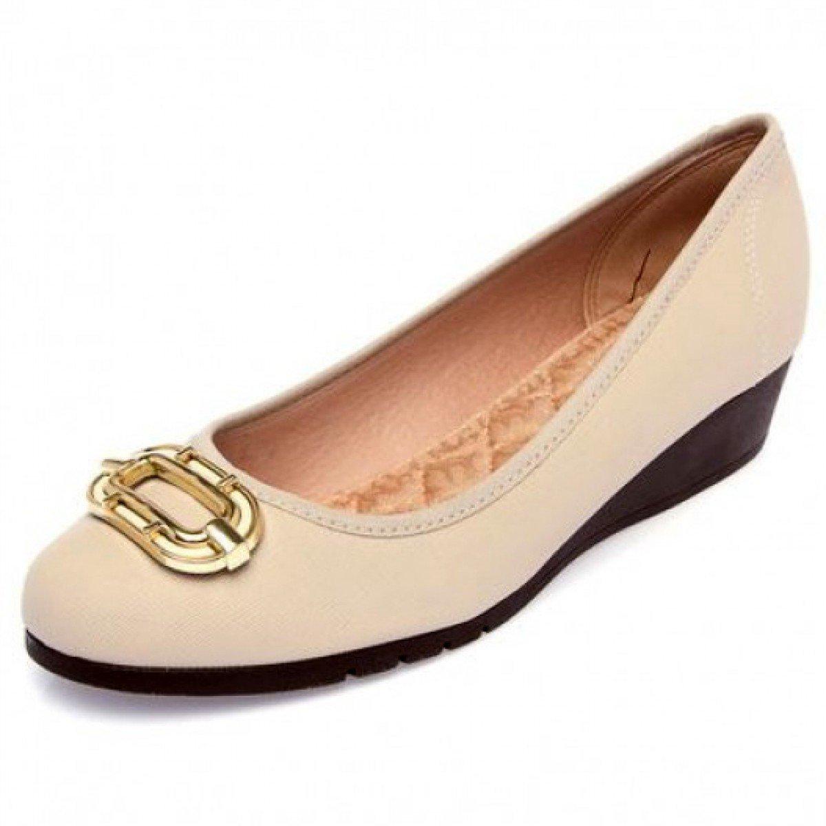 91ee0d9f77 Sapato Feminino Moleca Anabela Baixa Nude - Compre Agora