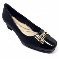 Sapato Piccadilly Confort Bico Quadrado - Preto