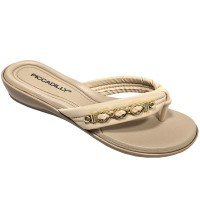 Chinelo Piccadilly Conforto com Detalhe Metal - Bege