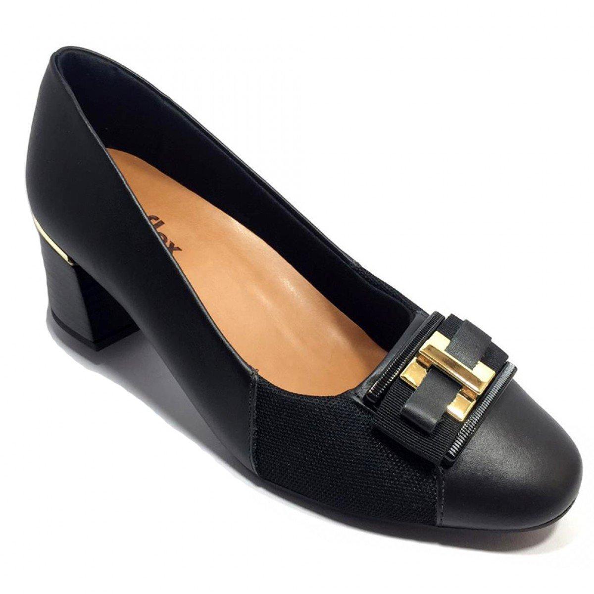a14577e852 Sapato Scarpin Couro Usaflex Joanete Fivela Preto - Compre Agora ...