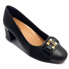 Sapato Scarpin Couro Usaflex Joanete Fivela - Preto
