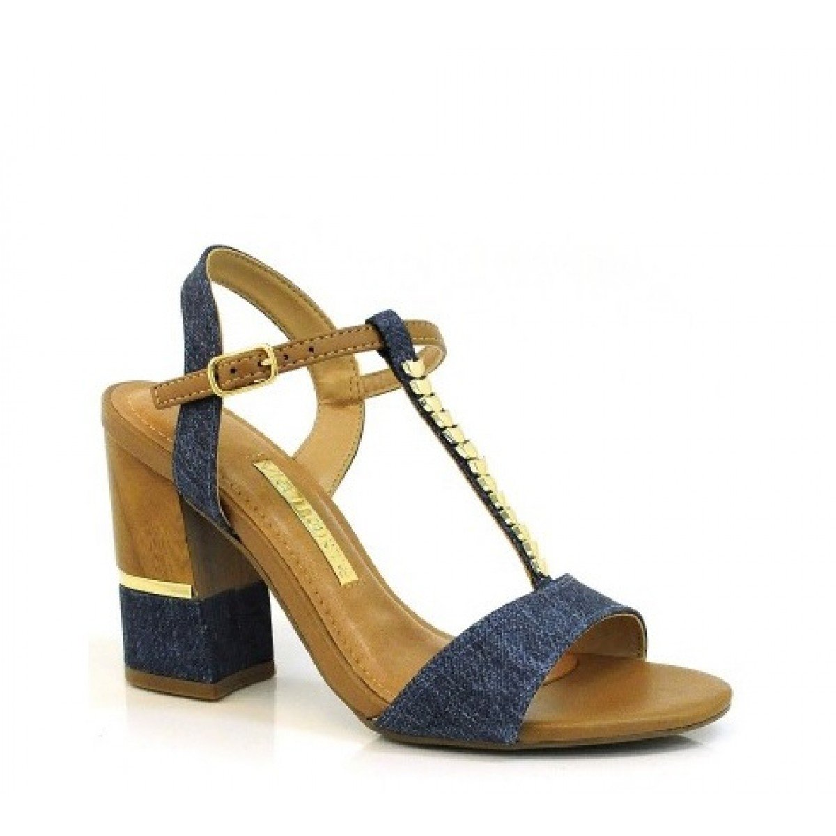 a33b991b87 Sandália Feminina Via Marte Salto Grosso Jeans Napa - Compre Agora ...