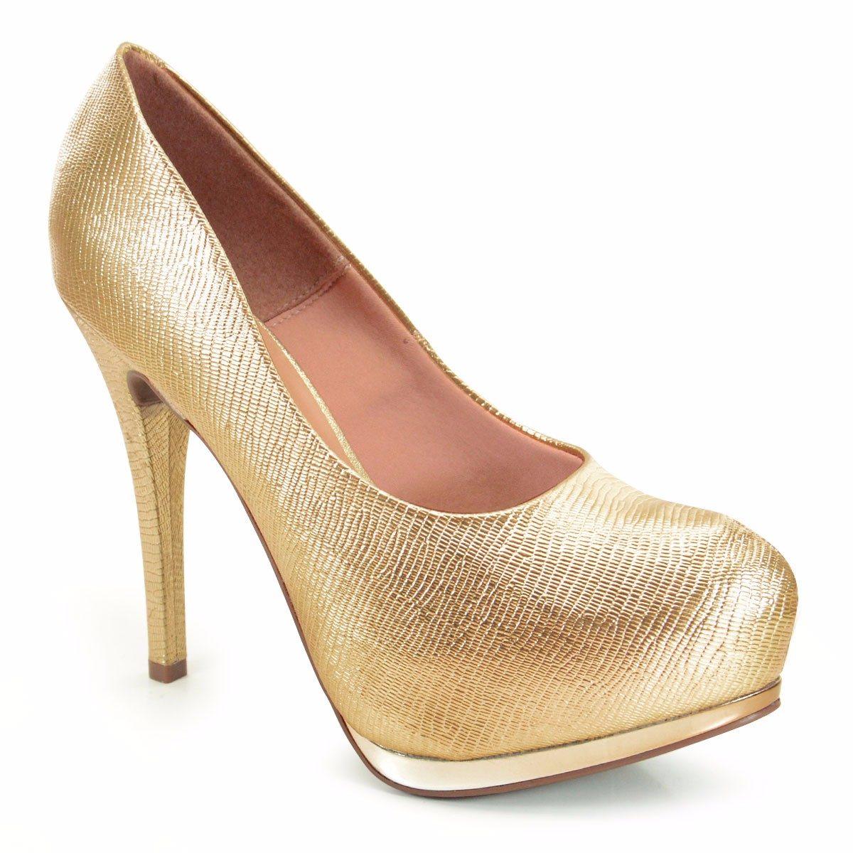 b0d692c2a Sapato Vizzano Meia Pata Mini Lezard Metalizado Ouro - Compre Agora ...