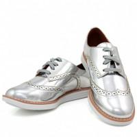 Sapato Oxford Vizzano Metalizado Feminino - Prata