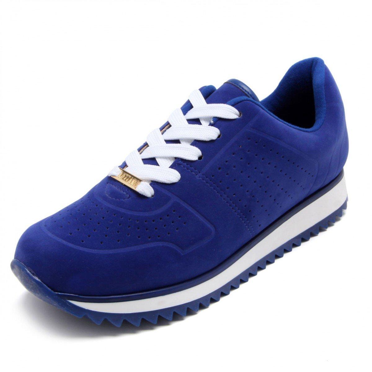 b19f36444 Tênis Jogging Vizzano Camurça Recortes Azul - Compre Agora