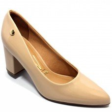 Sapato Scarpin Verniz Bico Fino Vizzano - Bege