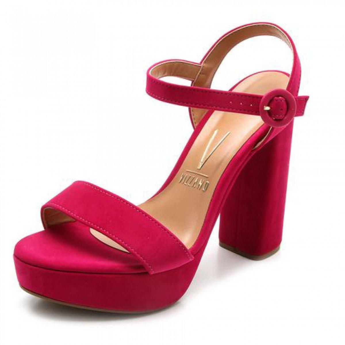 3cf2d4d28 Sandália Vizzano Salto Grosso Camurça Rosa Pink - Compre Agora ...