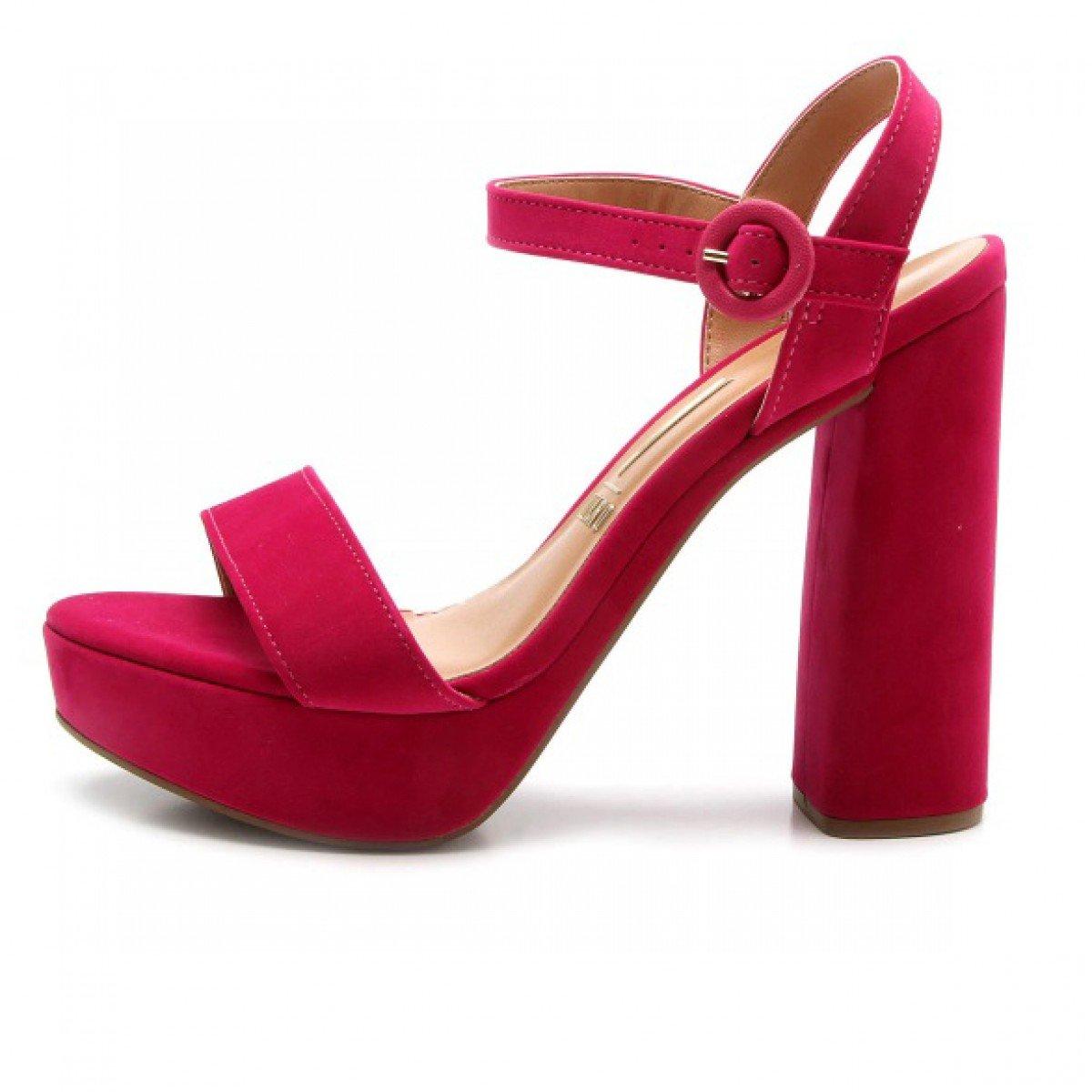 586853cc3 Sandália Vizzano Salto Grosso Camurça Rosa Pink - Compre Agora ...