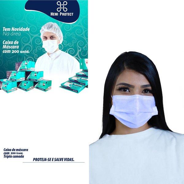 Kit Máscaras de Proteção Descartável Hemi Protect Tripla Camada 200 unid - Azul